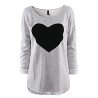 shirt t-shirt - 2015 Fashion T Shirt for women Heart Tops Sweatshirts Long Sleeve Shorts T Shirt Female Plus Sizes Tee Dresses Autumn Clothing S XXL