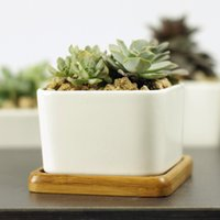 bamboo plant pots - Modern Style Decorative White Sqare Ceramic Crafts Succulent Planter Flower Mini Pot with Bamboo Tray EB DJ15606