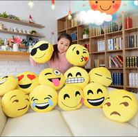 Wholesale HHA169 Cushion Cute Lovely Emoji Smiley Pillows Cartoon Facial QQ Expression Cushion Pillows Yellow Round Pillow Stuffed Plush Toy