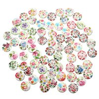 Wholesale Hot sale New Arrival Mixed Wood Buttons Holes White Flower Round Pattern Sewing Scrapbooking The all match