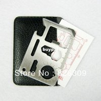 Wholesale HIGH QUALITY stainless steel pocket survival camping tool card knife with leather case pnm1