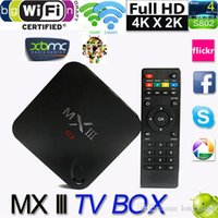 Wholesale Mali450 K H G GB Wifi XBMC DLNA Miracast Airplay Tv Receivers Set Top Box Quad Core MX III Android TV Box Player