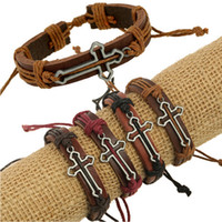 Wholesale Pc Alloy Long Hollow Cross Mens ID Bracelets Thick Leather Belt Wristband Wrap Bracelets Vintage Jewelry Male Bangle