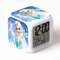 Wholesale Hot Sales Piece Princess Elsa Anna Olaf Digital Alarm Clock Color Changing LED Clock Kids Cartoon Clock