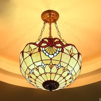 antique white glass lampshade - Baroque Pendant Light Antique Novelty Creative Art Stained Glass Lampshade Tiffany Light Coffee Bar Hotel Chandelier
