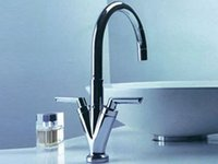 basin and cabinet - hot and cold double cabinet chromed basin faucet