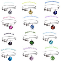 Wholesale 2015 New Birthstone Crystal Pendant of Months Birthstone Alex and Ani Charm Wiring Bracelet expandable bangles