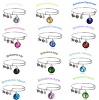 Wholesale 2016 New Birthstone Crystal Pendant of Months Birthstone Alex and Ani Charm Wiring Bracelet expandable bangles