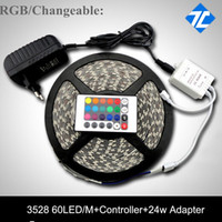 Wholesale colors V Non Waterproof SMD RGB Led Strip Light M LEDs M RGB Changeble with Keys Remote Controller