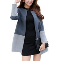 Wholesale 2016 Fashion Elegant Women Long Coat Wool Patchwork Single Botton Slim Grey Coat Oversized S XL Womens Winter Jackets and Coats