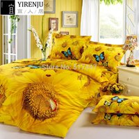 Wholesale FS golden sunflowers butterfly ladybird animals bedding sets king queen size duvet quilt cover cotton d oil painting