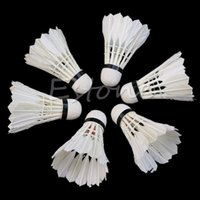 Wholesale 6Pcs White Goose Feather Shuttlecocks Birdies Badminton Ball Game Sport Training
