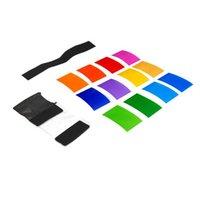 Wholesale 12pcs Strobist Flash Color Card Diffuser Lighting Gel Pop Up Filter for Camera HITM