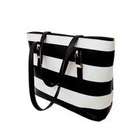 Wholesale holiday sale bags Handbags fashion women Stripe Street Snap Candid Tote Pu Shoulder Bag drop shipping