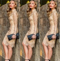 Wholesale Champagne Knee Length Lace Cocktail Dresses Long Sleeves High Neck Short Prom Evening Gowns Sheath Bridesmaid Wedding Party Dress