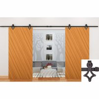 antique double doors - 7 FT Antique Black Wooden Double Sliding Barn Closet Door Modern Wood Hardware Interior American Style Track Kit