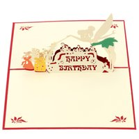 Wholesale 3D Handmade Pop Up Folding Birthday Wedding Card Cute Christmas New Year Party Card Magic Fairy Design Thanksgiving Day Postcard H16173