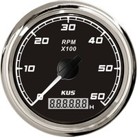 Wholesale 85mm tachometer SQ KF07012 black faceplate stainless steel KL for marine boat car truck high quality red backlight