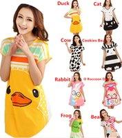 Wholesale New Arrivals Women Lady Sleep Shirt Dress Sleepwear Pajamas Cotton Blend Cartoon Polka Dot Short Sleeve QX161