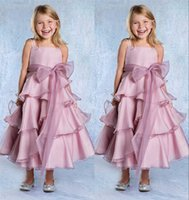 Wholesale Princess Purple Plus Size Flower Girls Dreses For Wedding Gowns A Line Spaghettis Strap Organza Bow Cheap Girls Cupcake Pageant Dresses
