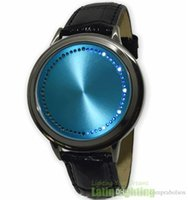 abyss touch screen watch - New Hot Fashion Abyss Inspired Blue LED Watch Touch Screen Watches Soft Leather Innovative Digital Binary Wristwatch