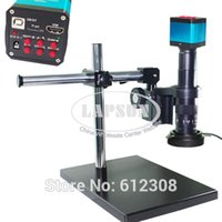 Wholesale 14MP HDMI HD USB Digital Industry Video Microscope Camera Set Big Boom Stereo Table Stand X C MOUNT Lens LED Light