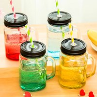 Wholesale Glass Wedding Favors Candy Boxes Favor Holders Cute Vintage Style Cool Gradiet Color Bottle Summer Jar with straw Colorful Cold Drink Glass