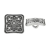 Wholesale 2015 New Flower Sewing Buttons Square Silver Tone Sewing And Scrapbooking x13mm Sewing Accessories