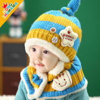 baby baseball gloves - Winter beanie baby small baseball hat ear protector cap baby hat knitted hat muffler scarf twinset