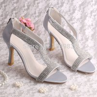Wholesale Colors Custom Designer High Heel Sandal Shoes Wedding Womans Silver with Rhinestone