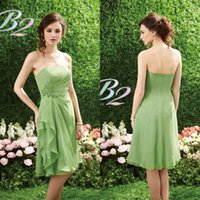 Wholesale 2016 Country Short Green Bridesmaid Dress A Line Strapless Knee Length Lace Applique Chiffon Wedding Guest Dress Custom Made