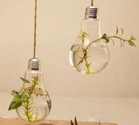 Wholesale 8 cm Transparent Glass Hanging Bulb Vase for Wedding Flower Plants Pot Planter Home Decor Creative Design Gift for Decoration Rope FREE