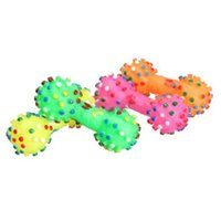 Wholesale 2015 New Pet Chew Toy Soft Small Rubber Bone Squeaky Toy Colorful Dot For Puppy Dog Cat Christmas Gift