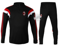 able black - Mens AC Milan Tracksuits Fashion Cutton Sportswear Gym Outfit Sport Suits able custom name number