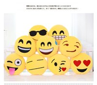 Wholesale Soft Emoji Smiley Emoticon Yellow Round Cushion Pillow funny cute Stuffed Plush Toy Dolls Christmas Present new arrival