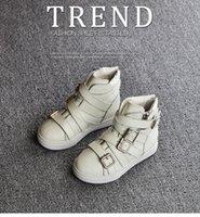 achat en gros de bébé gothique-2015 automne hiver bottes pour enfants boucle chaussures enfants filles en cuir véritable bottines bébé chaussures en cuir de la mode des garçons bottes gothiques 2 couleurs