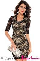 Cheap Black Nude Lace Keyhole Back Half Sleeves fashion lace Dress LC2753 print crochet blusa de renda new 2015 fashion