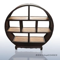 bamboo style furniture - Southeast Asian style furniture handmade Thai specialties Entrance Cabinet bookcase round bamboo decorative wine rack cabinet showcase