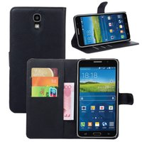 For Samsung Leather Black Slim Luxury Handmade PU Litchi Leather Wallet Case Carrying Folio Cover With Stand Function For Samsung Galaxy Mega 2 G7508Q