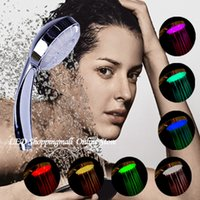 Wholesale 7 Colors LED Shower Head Handheld Romantic Light Color Changing Home Bathroom Water Flow Automatic Control