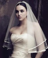 beach wedding veil - 2015 Cheap Bridal Veils Vintage Edge White Tulle Veil For Beach Church Wedding Bride Bridal Accessory Fast Shipping In Stock XQ