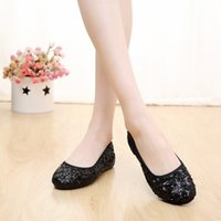 Women asia shoes - New Fashion Sequins Women Shoe Round Toe Casual Shoes Shallow Mouth Ladies Shoes All match Woman Flats Asia Size TY0209 salebags