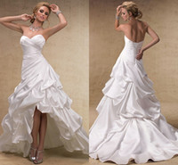 Wholesale Satin Dressing Gowns Women China - White Elegant Custom Made Sexy Sweetheart Women Cheap China High Low Wedding Dresses Trumpet Wedding Gowns Design