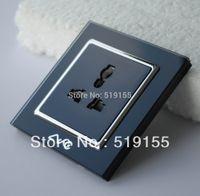 australian wall socket - LVC6503BB Brand new black luxury glass panel A EU UK US Australian Standard ac power wall electric universal Socket