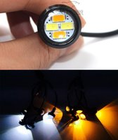 Wholesale 10pcs mm Car styling LED DRL Eagle Eye Daytime runing lights Warning Fog lights with turning signal Newest