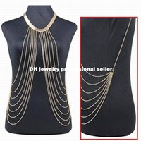 body chain - waist jewelry Luxury Fashion Stunning Sexy Body Belly Gold Full Chain Female Slave Harness Collar Punk Necklace Body Jewelry w