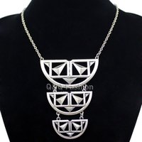 egyptian jewelry - Egyptian African Kuchi Aztec Silver Crescent Pyramid Cut Out Chain Necklace Jewelry