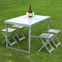 Wholesale Highly Recommend Portable Folding Outdoor Aluminum Alloys Picnic Table With taboret High quality Best price