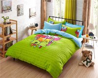 Wholesale bright green skyblue colored bedding set full queen size cartoon print comforters cotton bed linens children s duvet cover sheet