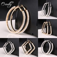 Wholesale Cheap Designer Jewelry For Women - Luxury Designer Pearl Paved 18K Gold Plated Hoop Earring 5cm Fashion Women Jewelry for Party Wholesale Cheap Price